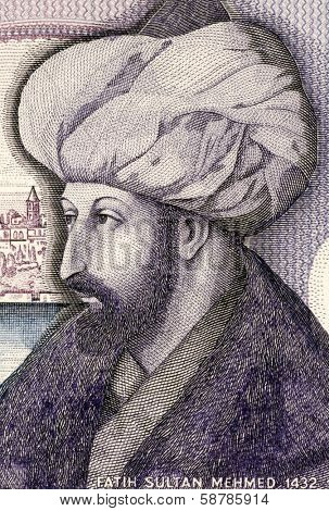 TURKEY - CIRCA 1986: Mehmed the Conqueror (1432-1481) on 1000 Lira 1986 Banknote from Turkey. Sultan of the Ottoman Empire during 1444-1446 and 1451-1581.