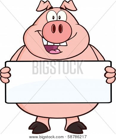 Happy Pig Cartoon Character Holding A Banner
