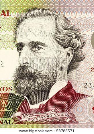 URUGUAY - CIRCA 2008: Jose Pedro Varela (1845-1879) on 50 Pesos 2008 Banknote from Uruguay. Uruguayan sociologist, journalist, politician and educator.