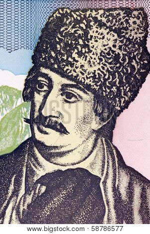 ROMANIA- CIRCA 1993: Avram Iancu (1824-1872) on 5000 Lei 1993 Banknote from Romania. Transylvanian Romanian lawyer who played an important role in the local chapter of the Austrian Empire Revolutions.