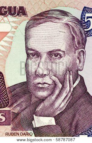NICARAGUA - CIRCA 1985: Ruben Dario (1867-1916) on 500 Cordobas 1985 Banknote from Nicaragua. Nicaraguan poet.
