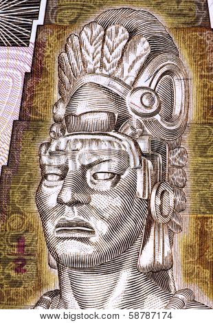 GUATEMALA - CIRCA 1998: Tecun Uman (1500-1524) on Half Quetzal 1998 Banknote from Guatemala. Last ruler and king of the K'iche' Maya people.