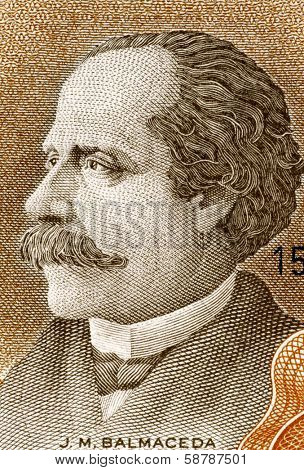 CHILE - CIRCA 1967: Jose Manuel Balmaceda (1840-1891) on 10 Escudos 1967 Banknote from Chile. 11th President of Chile during 1886-1891.