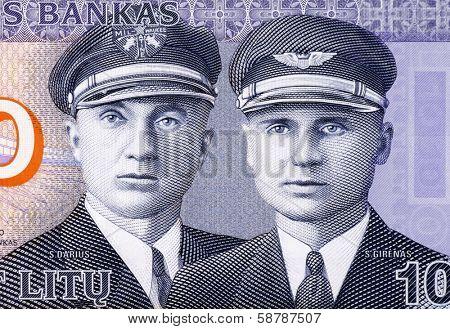 LITHUANIA - CIRCA 2007: Aviators Steponas Darius (1896-1933) and Stasys Girenas (1893-1933) on 10 Litu 2007 Banknote from Lithuania.