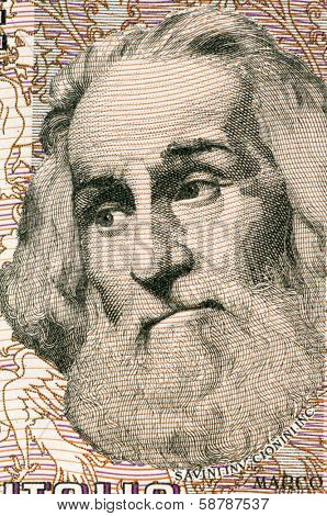 ITALY - CIRCA 1982: Marco Polo (1254-1324) on 1000 Lire 1982 Banknote from Italy. Venetian merchant traveler.