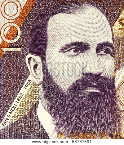 ALBANIA - CIRCA 1996: Fan S. Noli (1882-1965) on 100 Leke 1996 Banknote from Albania. Writer, scholar, diplomat, politician, historian, orator, and founder of the Albanian Orthodox Church.