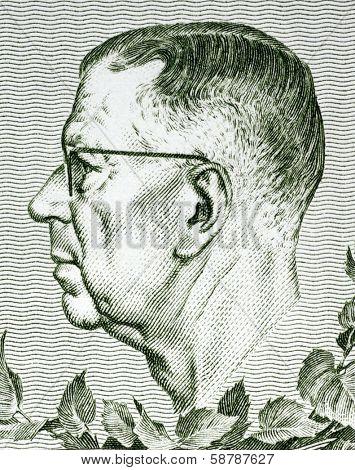 SWEDEN - CIRCA 1980: Gustaf VI Adolf of Sweden (1882-1973) on 10 Kronor 1980 Banknote from Sweden. King of Sweden during 1950-1973.