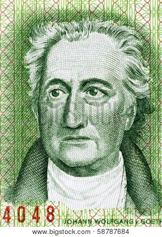 EAST GERMANY - CIRCA 1975: Johann Wolfgang von Goethe (1849-1932) on 20 Marks 1975 Banknote from East Germany. German writer, artist and politician.