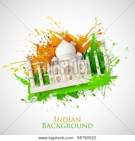 illustration of Taj Mahal with Tricolor India grunge