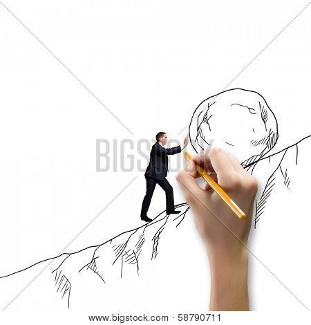 Powerful businessman rolling huge stone up on hill