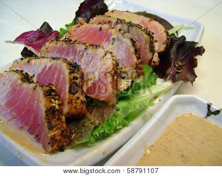 Seared Ahi Tuna with Ginger Soy Sauce