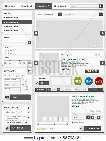 Web design elements set. Online shop. Vector illustration