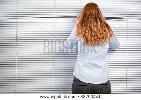 Spying Businesswoman Or Secretary