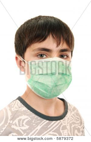 15-year-old Boy In The Medical Mask