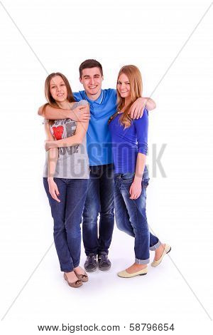 Three Young People Isolated