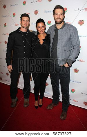 LOS ANGELES - JAN 5:  Parker Young, Angelique Cabral, Geoff Stults at the BCS National Championship Party at Pasadena Convention Center on January 5, 2014 in Pasadena, CA