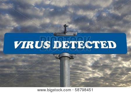 Virus detected road sign
