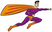 image of cloak  - Superhero flies through the air and the wind stretches his cloak - JPG