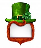 stock photo of clover  - Leprechaun blank sign banner with a green shamrock lucky top hat and orange red hair as a St Patricks day symbol and luck icon of Irish tradition celebration with magical four leaf clover decoration on a white background - JPG