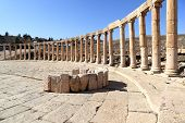 stock photo of cardo  - The Oval Forum at Jerash in the Roman ruins of Jerash in Jordan - JPG