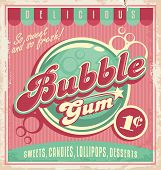 stock photo of 1950s  - Vintage poster template for bubble gum - JPG