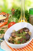picture of liver fry  - Fried chicken livers in pan on wooden table close - JPG