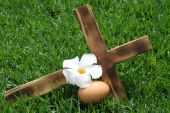 pic of crucifiction  - A wooden cross representing the crucifix resting on grass with a symbolic egg and flower - JPG