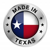 stock photo of texans  - Made in Texas silver badge and icon with central glossy Texan flag symbol and stars illustration isolated on white background - JPG
