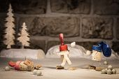 pic of snowball-fight  - Concept snowball fight with children wine cork figures - JPG