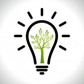 Modern infographic template. Light bulb with Green tree icon inside. Business Eco �?��?�¡once