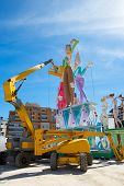 VALENCIA, SPAIN - MARCH 2013: Fallas of Valencia is a popular fest with humor figures on streets tha