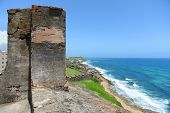 stock photo of san juan puerto rico  - Fort San Cristobal overlooking beach in San Juan Puerto Rico - JPG