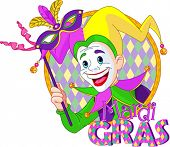 picture of jestering  - Cartoon design of Mardi Gras Jester holding a mask - JPG