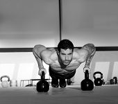 stock photo of barbell  - Gym man push - JPG