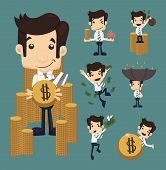 stock photo of coin bank  - Set of businessman make money characters poses eps10 vector format - JPG