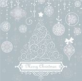 stock photo of tree trim  - Vintage christmas blue card - JPG