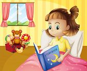 stock photo of storybook  - Illustration of a small girl reading a storybook inside her room - JPG
