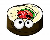 picture of googly-eyes  - Fun portion of cartoon sushi with googly eyes - JPG