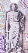 GREECE - CIRCA 1995: Asclepius on 10000 Drachmes 1995 Banknote from Greece. God of medicine and heal