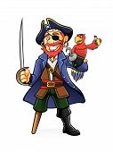 stock photo of pirate sword  - Pirate was standing holding a drawn sword with a parrot perched on hand - JPG