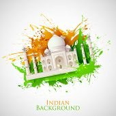 stock photo of ashok  - illustration of Taj Mahal with Tricolor India grunge - JPG
