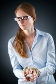 Woman With Tied Hands And Credit Debt