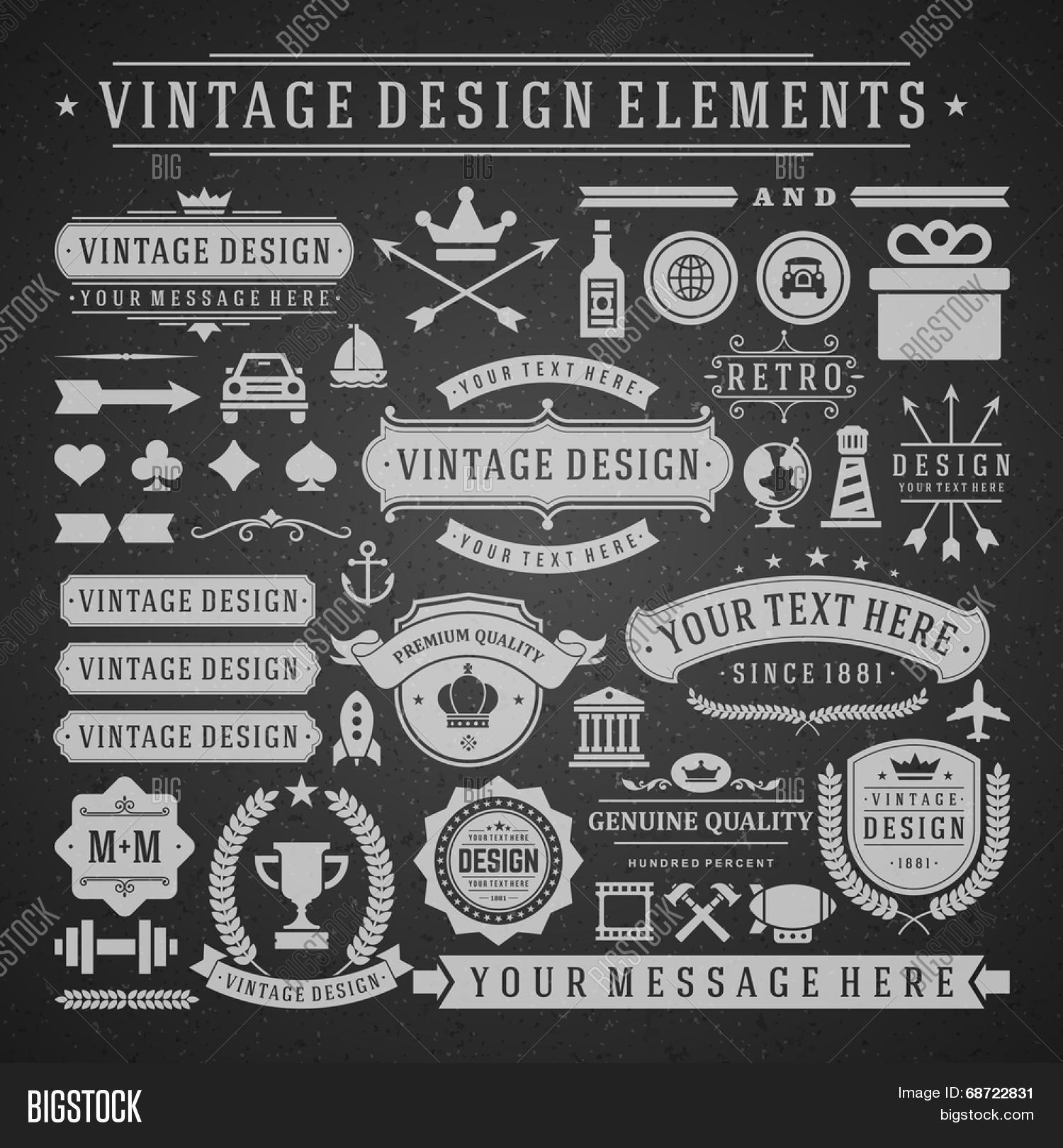 Vintage Vector Design Elements Retro Chalk Style Golden Typographic Labels Tags Badges