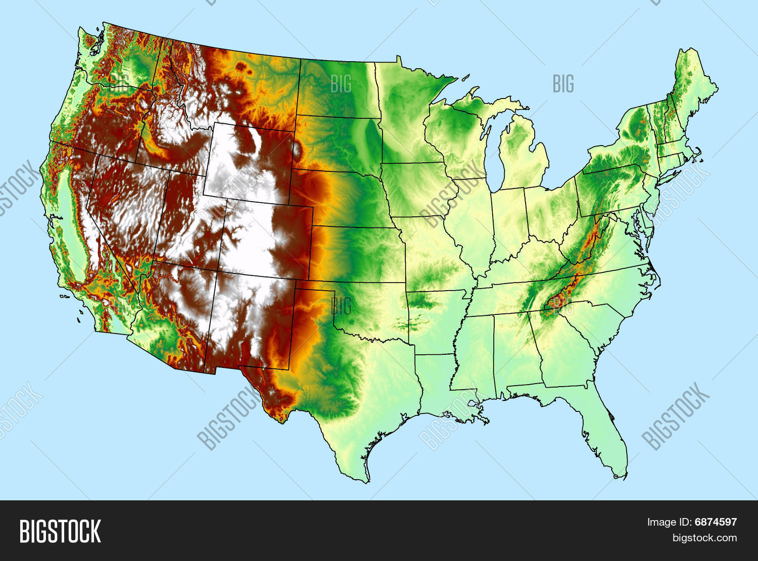 USA DEM DTM Elevation Model Map Image Photo Bigstock - Us map elevation
