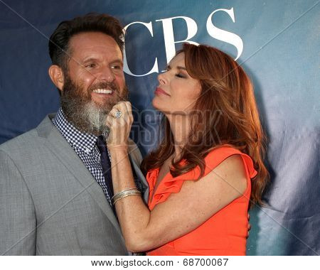LOS ANGELES - JUL 17:  Mark Burnett, Roma Downey at the CBS TCA July 2014 Party at the Pacific Design Center on July 17, 2014 in West Hollywood, CA