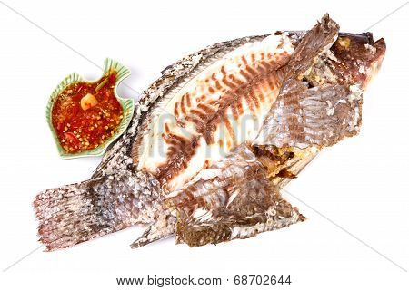 Grilled Tilapia Fish With Sauce In Isolated On White