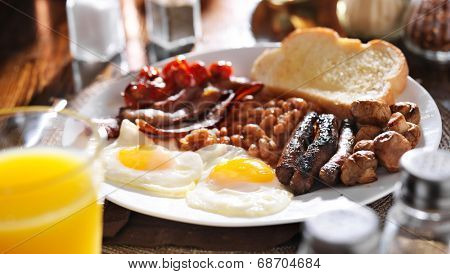 full english breakfast in panoramic composition