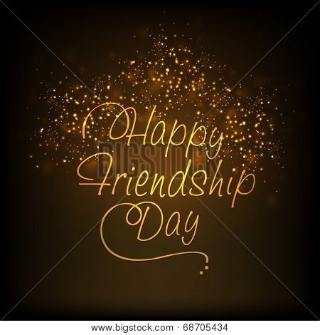 Greeting card design with golden stylish text Happy Friendship Day on shiny fireworks on black background.