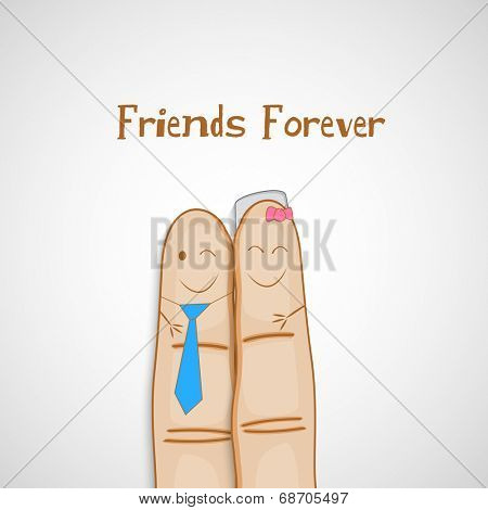Happy Friendship Day celebrations concept with cute faces painted on human fingers on grey background.