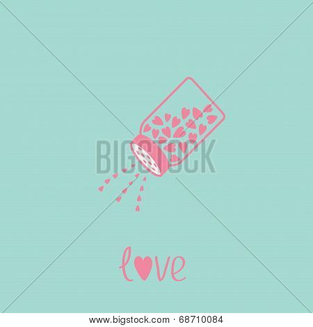 Salt Shaker With Hearts Inside. Happy Valentines Day Love Card. Blue And Pink